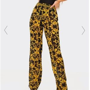 Black and Gold Sheer Flowy High Waisted Pants